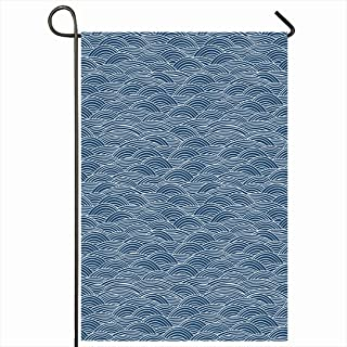 Ahawoso Outdoor Garden Flag 28x40 Inches Navy Stripes Waves Pattern Abstract Line Kitesurfing Wavy Nautical Sketch Atlantic Surfing Australia Seasonal Home Decor Welcome House Yard Banner Sign Flags