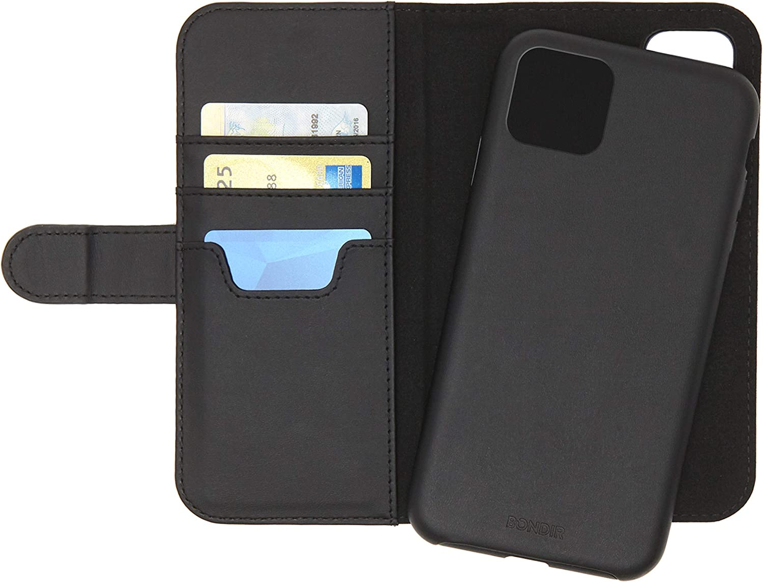 Bondir Black Case for Phone 11 Pro (2 in 1) Magnetic Detachable Leather Wallet Case for Apple iPhone X, iPhone Xs, iPhone 11 Pro