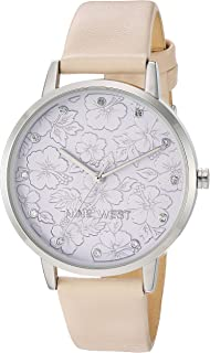 Nine West Women's Crystal Accented Silver-Tone and Ivory Vegan Leather Strap Watch, NW/2423LVIV