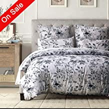 Duvet Cover Set King-Zipper Closure Printed Floral Pattern Bedding Sets (1 Duvet Cover+ 2 Pillowcases) Ultra Soft Hypoallergenic (Queen)