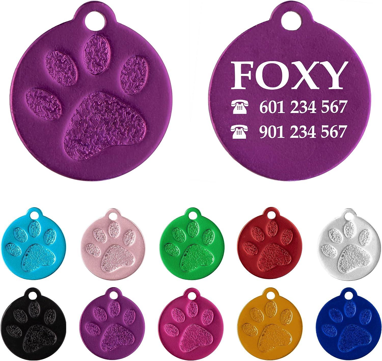 Placa Redonda con Huella para Mascotas pequeñas-Medianas Chapa Medalla de identificación Personalizada para Collar Perro Gato Mascota grabada (Lila)