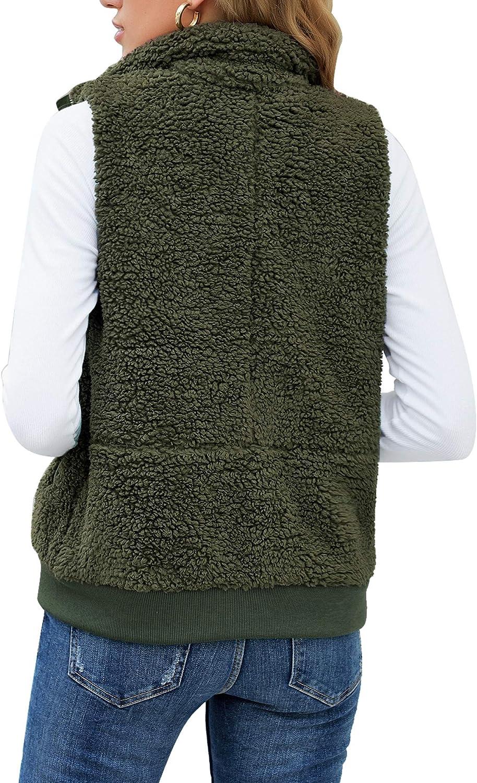 GRAPENT Women's Fuzzy Sherpa Fleece Vest Sleeveless Zipper Pockets Jacket Outwear