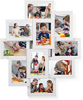 SONGMICS Collage Picture Frames, 4 x 6 Inches for 10 Photos, Assembly Required, Collage Multiple Photos, Glass Front, White URPF20WT