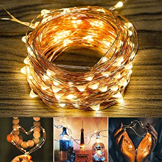 Beexcellent LED String Lights, 33ft LED Waterproof Copper Wire Lights with 8 Lighting Modes, Battery Powered Decorative Lights for Outdoor Christmas Wedding Party Bedroom Garden(Warm White)