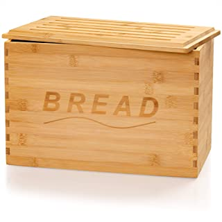 Golden Nature Bamboo Bread Box - With Bread Board Lid - Large Bread Organizer Box for your Baked Goods - Perfect for Kitchen Countertop Storage
