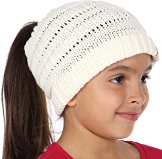 Plum Feathers Beanie Tail Kids Soft Stretch Cable Knit Messy High Bun Ponytail Beanie Hat