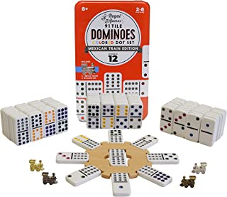Regal Games Double 12 Colored Dot Dominoes Mexican Train Game Set with Wooden Hub, 91 Domino Tiles, 4 Metal Trains, and Co...
