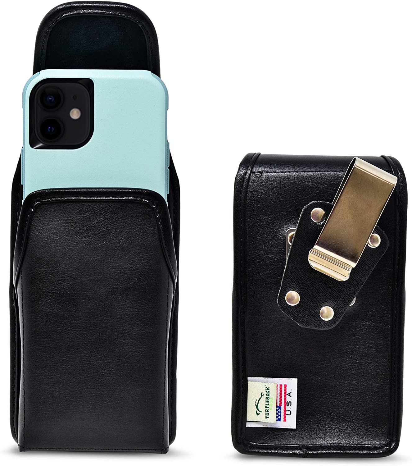 Turtleback Belt Case Designed for iPhone 12 & 13 Mini Fits with Shockproof OB COMMUTTER, Vertical Holster Black Leather Pouch with Heavy Duty Rotating Belt Clip, Made in USA