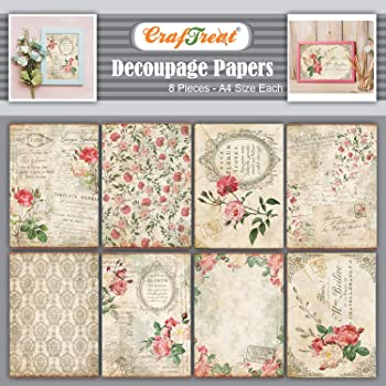 Decorative Printed Decoupage Paper Set 8pcs CrafTreat Flower Mosaic 1 /& 2 Decoupage Paper Pack for DIY Home D/écor Mixed Media Crafts Arts and Crafts Supplies A4