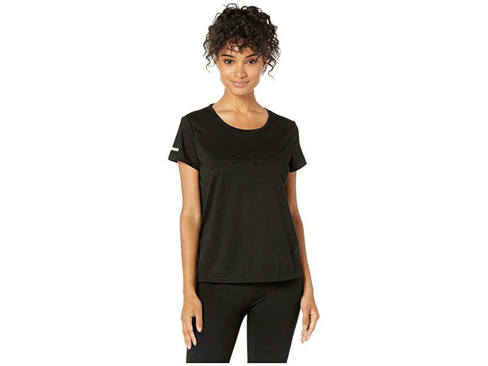 Bebe Sport Slash T-Shirt w/ Emboss Logo (Black) Women