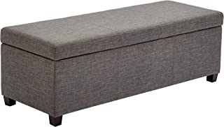 First Hill Damara Lift-Top Storage Ottoman Bench with Fabric Upholstery, Foggy Day Gray