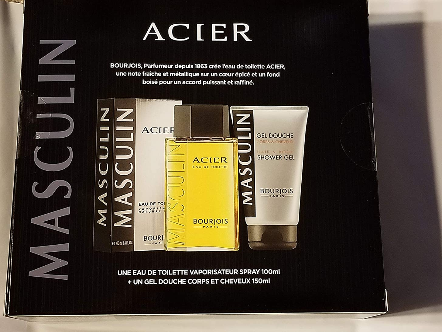 ジョグパラメータ放散するブルジョワ Masculin Coffret: Acier Eau De Toilette Spray 100ml+Hair & Body Shower Gel 150ml/5oz 2pcs並行輸入品