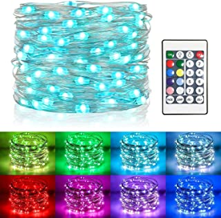 Koopower 36ft 100 LED Outdoor Battery String Lights +100 Led 32Ft Fairy Lights Muticolor Changing RGB Waterproof Firefly L...