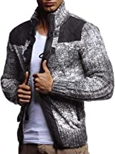 New Leif Nelson LN20739 Men's Knitted Zip-up Jacket With Geometric Patterns