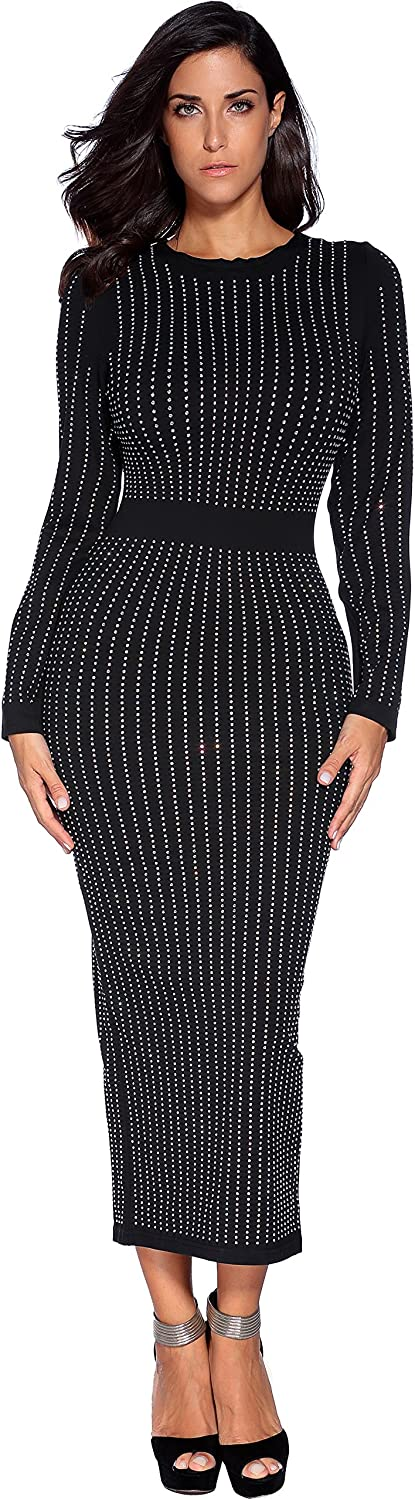 Meilun Women's Dress Polyester Long Sleeve Beaded Party Bodycon Dress
