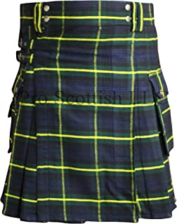 Gordon Tartan Contemporary Utility Kilt Heavy Weight 16oz With Buckle Straps