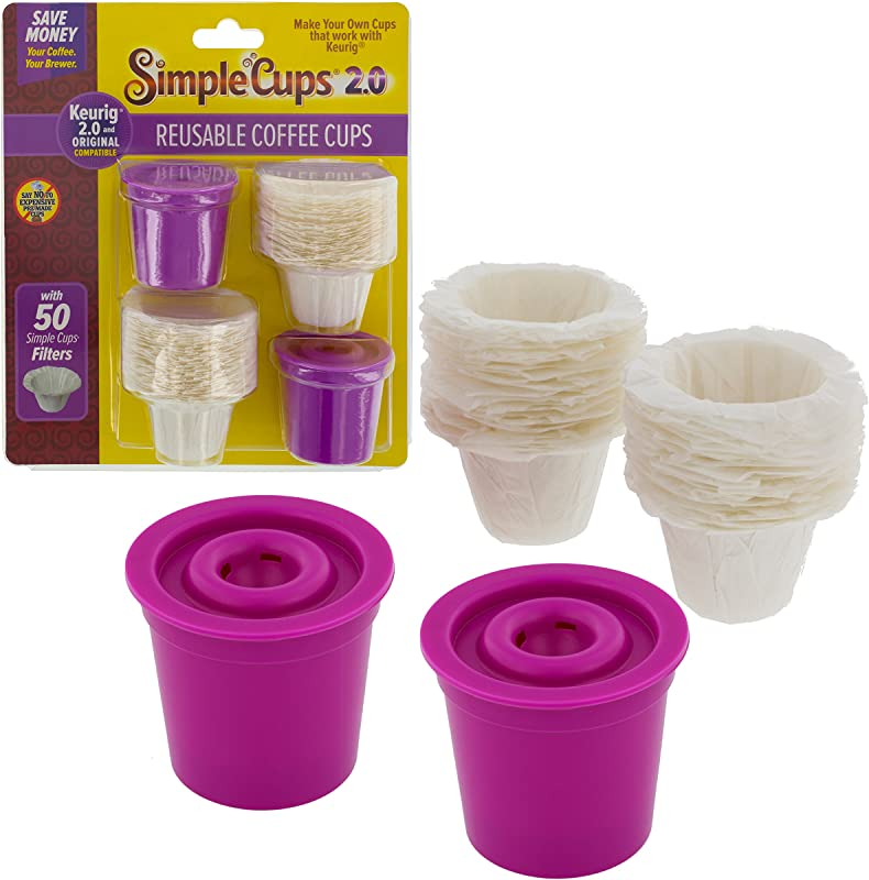 Simple Cups Reusable 2 0 Coffee Cups Set Of 2 With 50 Filters Compatible With Keurig Original And 2 0 Models