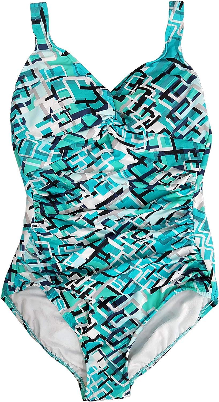 Swim Solutions Women's Twist Tummy Control One-Piece Swimsuit, Aqua, 10