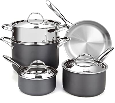Cooks Standard NC-00390 Stainless Steel 8-Piece Multi-Ply Clad Hard Anodized Cookware Set, Black