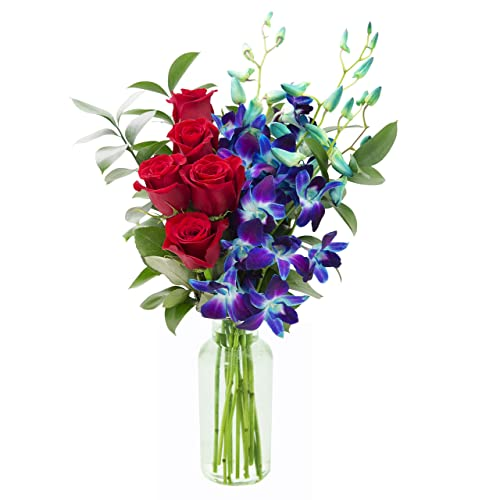 KaBloom Sapphire Red Bouquet Of Fresh Roses And Exotic Blue Orchids With Vase