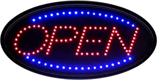 Alpine Industries LED Open Neon Sign for Business - Electronic Lighted Board w/Flash & Steady Mode - Provides Classy Techno Display - for Shops & Cafes (Oval, 19