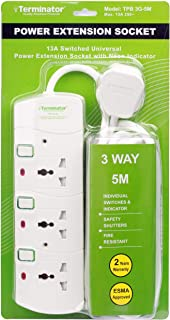 Terminator 3 way Universal Power Extension Socket, 5M 3X1.25MM2, White color body & cable with individual switch 13a Fused...