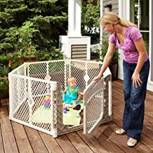 North States Superyard Ultimate 6-Panel Play Yard: Safe Play Area for Indoors or Outdoors - Folds up with Carrying Strap for Easy Travel. Freestanding. 18.5 sq. ft. Enclosure (26