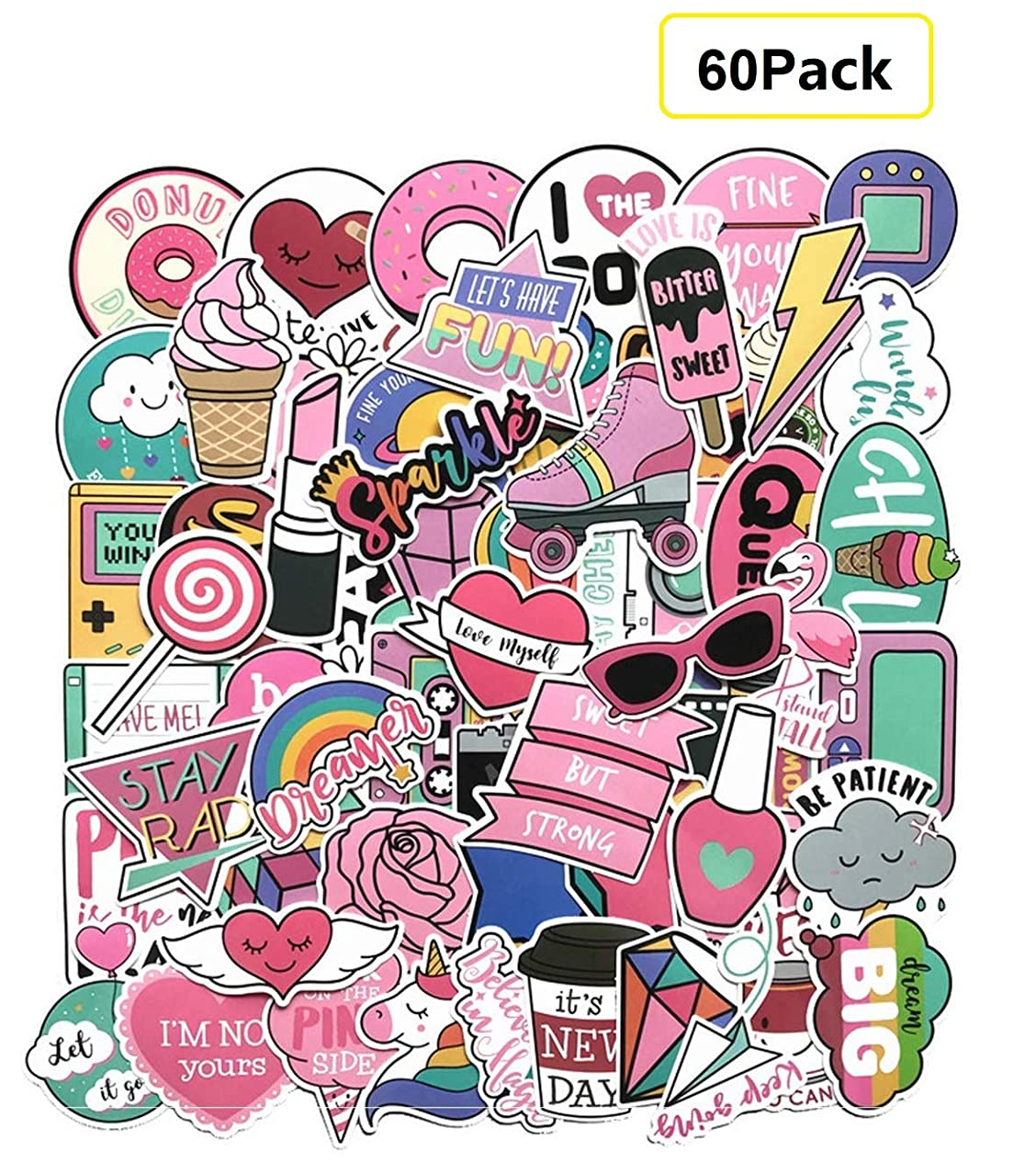 60 Pieces Girl Cute Lovely Stickers for Personalize Laptop, Car, Helmet, Skateboard, Luggage Graffiti Decals (B)