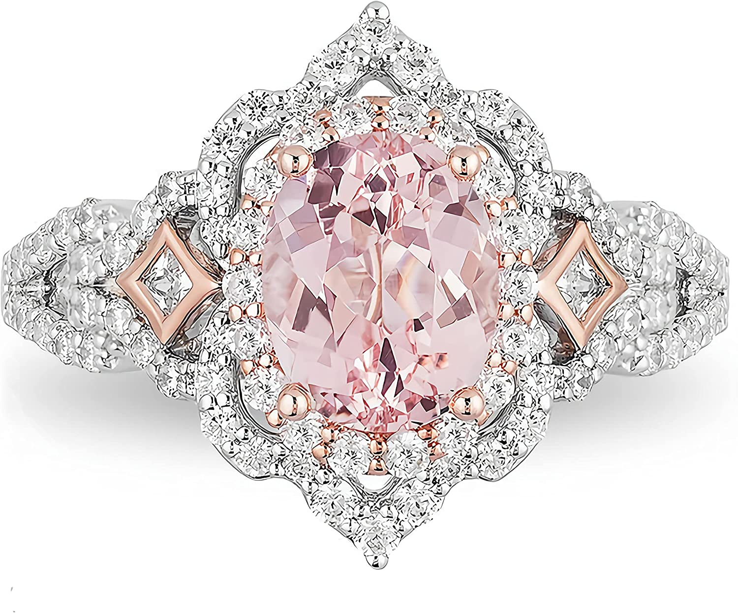 2 Carat ctw Morganite Moissanite women Purchase for engagement 10 rings Max 41% OFF