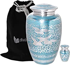 Divinityurns Wings of Love Blue & Silver Cremation Urn - Metal Cremation Urn - Handcrafted and Affordable Large Urn for Human Ashes - Adult Funeral Urn with Free Bag and Free Keepsake