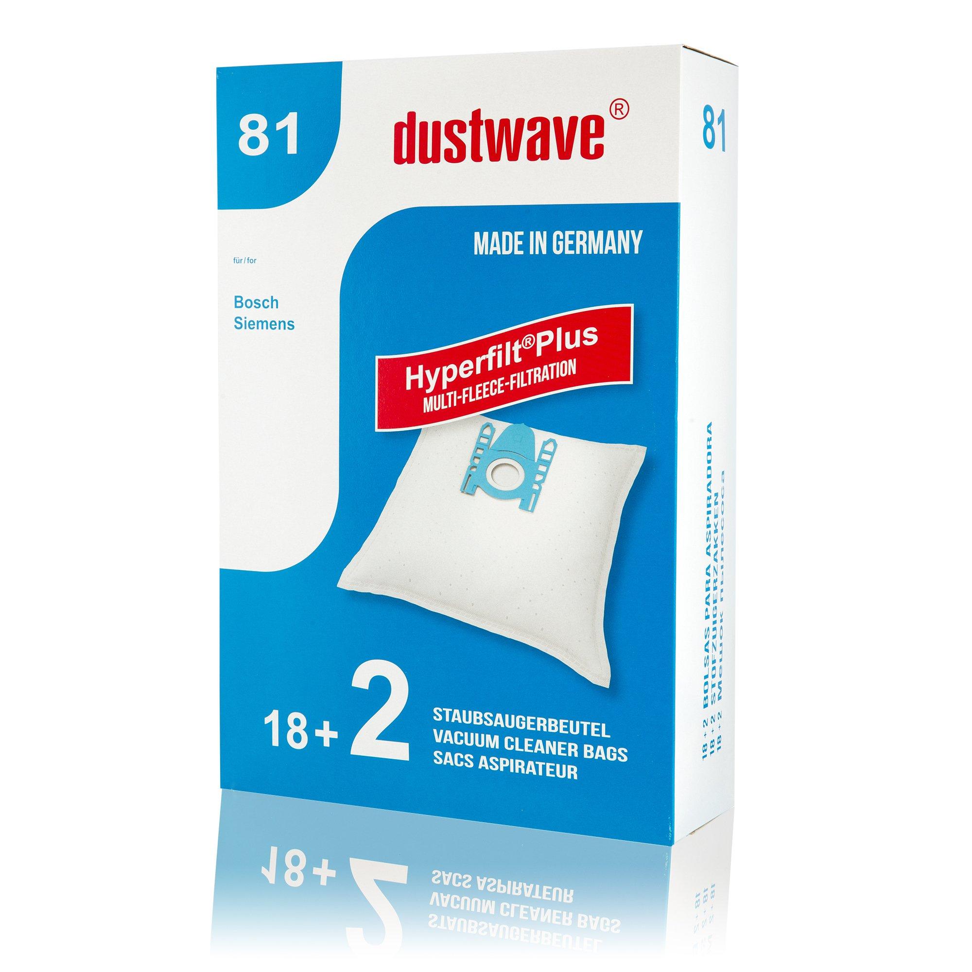 dustwave - Pack de ahorro de 20 bolsas para aspiradoras Siemens VS06G2410 (2400 W, fabricado en Alemania, incluye 2 microfiltros): Amazon.es: Hogar