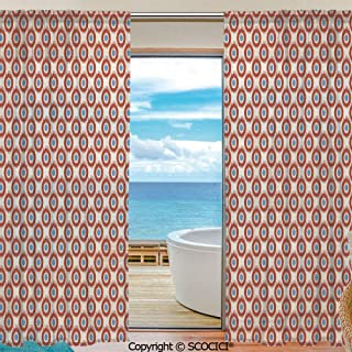Symmetric Shutters Decorative Sheer Curtains for Kitchen Window Drapes with Rod Pocket for Small Windows,2 Panels,Ikat,Ancestral Indonesian Circular Motifs Vivid Color Asian Traditional Pattern,Beige