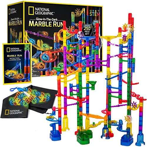 NATIONAL GEOGRAPHIC Glowing Marble Run – 250 Piece Construction Set with 50 Glow In The Dark Glass Marbles, Mesh Stor...