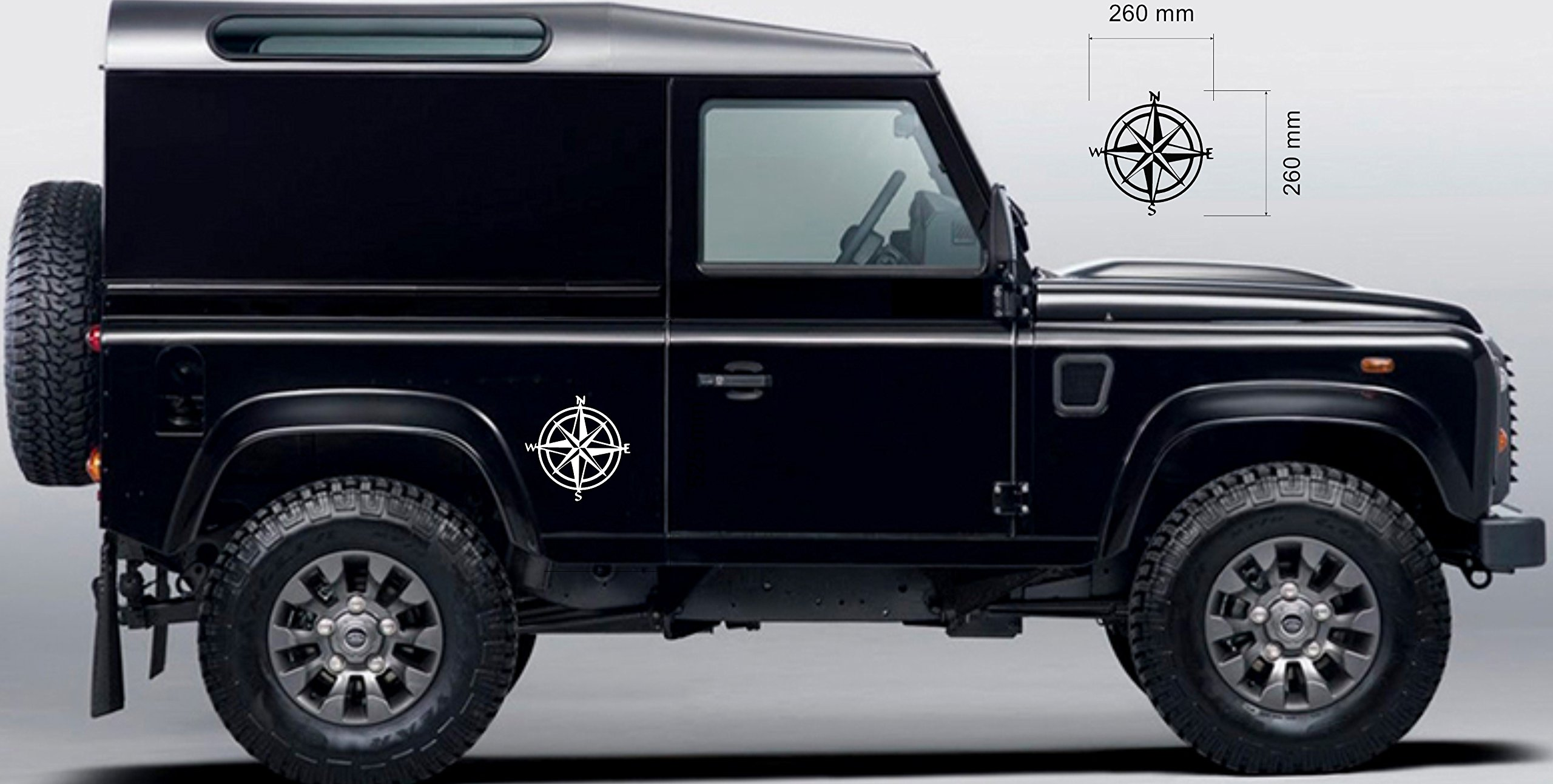 Off Road Style x 2 4x4 Compass Sticker Navigation Land Rover Decal