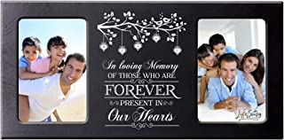 """LifeSong Milestones Words of Condolences Message Quotes for Loss of Loved One- Bereavement Sympathy Memorial Picture Frame Gift Ideas - 8""""x16"""" Holds Two 4""""x6"""" Photos (Forever in Our Heart)"""
