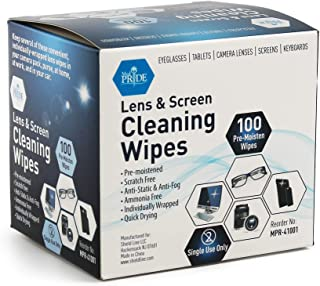 Medpride Premoistened Lens Wipes| 100-Pack| Anti-Static, Anti-Fog, Quick-Dry & Scratch-Free| Cleaning Cloths for LED Touch Screen, iPhones, iPads, Computer Monitors, Eyeglasses, Camera Lenses, Laptop