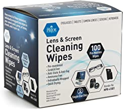 Medpride Premoistened Lens Wipes  100-Pack  Anti-Static, Anti-Fog, Quick-Dry & Scratch-Free  Cleaning Cloths for LED Touch Screen, iPhones, iPads, Computer Monitors, Eyeglasses, Camera Lenses, Laptop