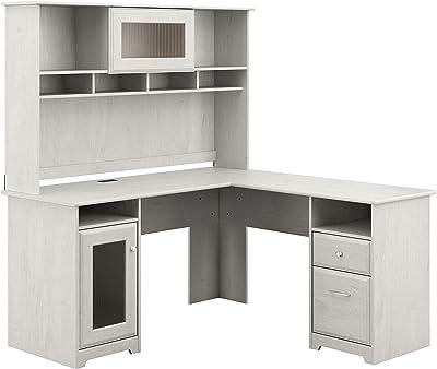Bush Furniture Cabot L Shape Desk with Hutch, 60W, Linen White Oak