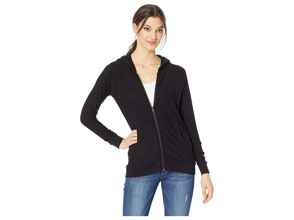 Chaser Cozy Knit Long Sleeve Raglan Zip-Up Hoodie (True Black) Women
