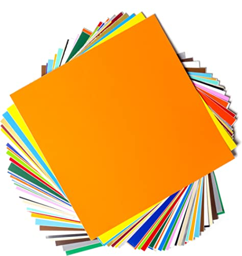 "Permanent Adhesive Backed Vinyl Sheets by EZ Craft USA - 12"" x 12"" - 40 Sheets Assorted Colors Works with Cricut and ..."