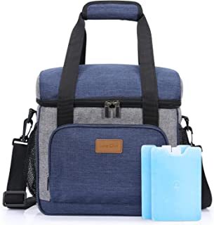Lifewit Large Insulated Lunch Bag 24-Can Lunch Box, Cooler Bag with 2 Ice Packs, Soft-Sided Cooler Tote Bag, Blue