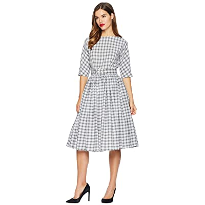 Unique Vintage 1940s Style Sleeved Sally Swing Dress (Grey Plaid) Women