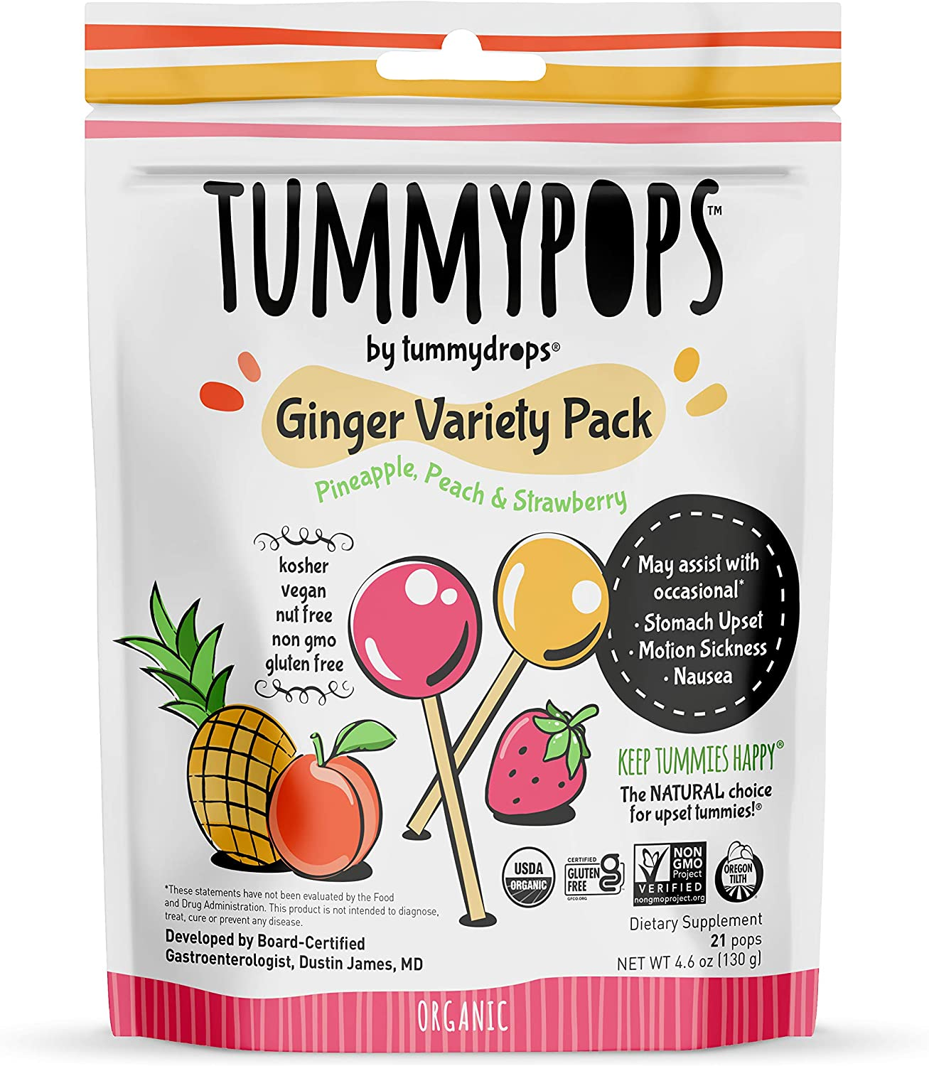 USDA Organic Tummypops Ginger Variety Pack (Pineapple, Peach, & Strawberry) : Grocery & Gourmet Food