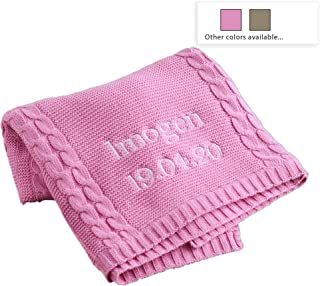 MY 1ST YEARS MADE WITH LOVE Personalized Baby Blanket for Boys & Girls — Beautiful Soft & Snuggly Cable Knit Custom Blankets for Newborn, Toddler & Kids — Rose Pink