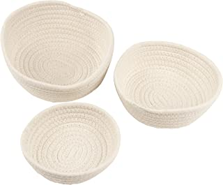 Woven Storage Baskets - 3-Pack Cotton Rope Baskets Decorative Hampers Collapsible Rope Storage Bins for Toys Towels Blanke...