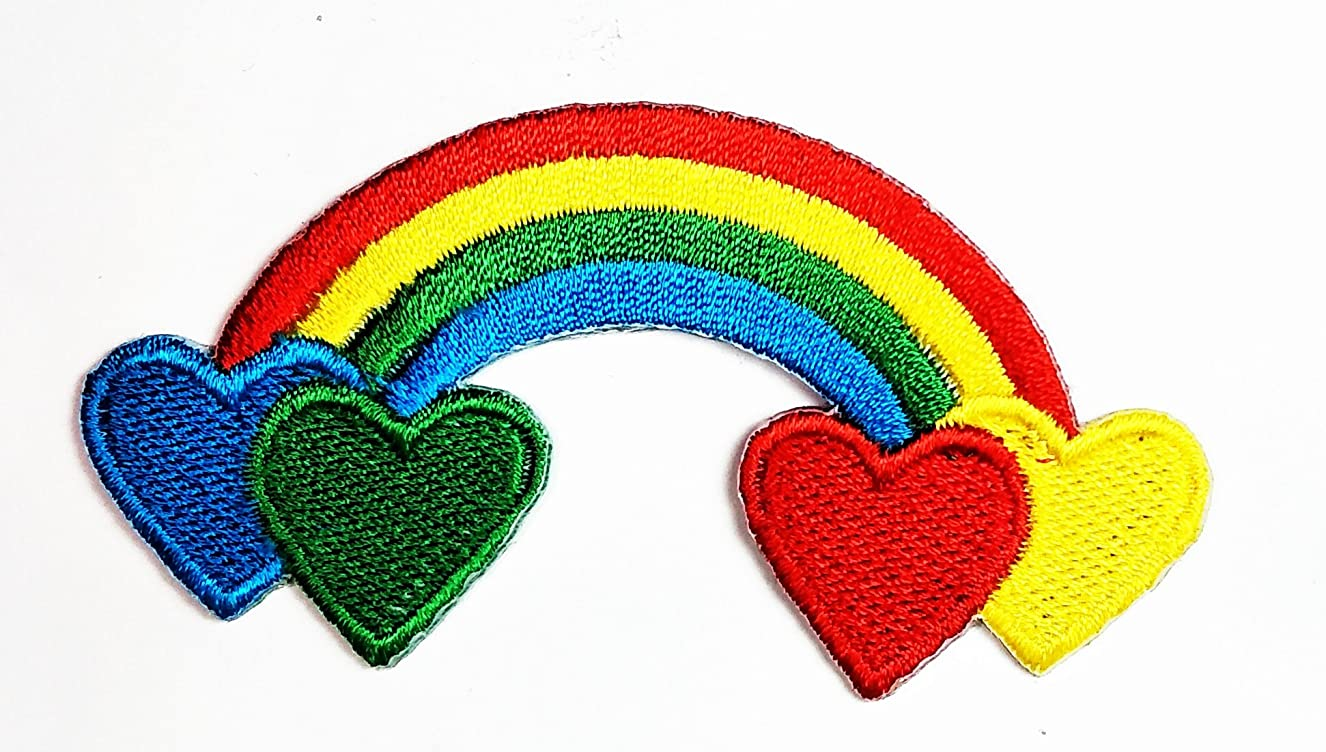 HHO Colorful Happy Face Rainbow heart Kid Patch Embroidered DIY Patches, Cute Applique Sew Iron on Kids Craft Patch for Bags Jackets Jeans Clothes ltfvaqklsq6844