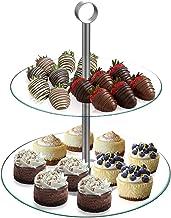برج الحلوى - طبقتين، حامل عرض زجاجي دائري للبسكويت والكب كيك والحلويات وهورز دو وومقبلات - رائع للحفلات من شيف بادي