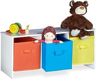 Relaxdays Banc de rangement enfant ALBUS caisse à jouets colorée banc en bois boîte à jouets pliable HxlxP: 35,5 x 81 x 29...