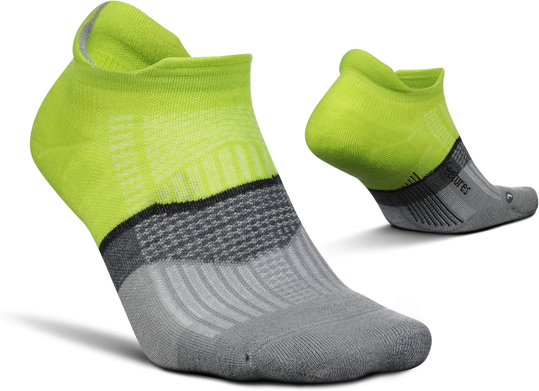 Feetures Merino 10 Cushion No Show Tab Stripe- Wool Hiking & Running Socks for Men & Women, Targeted Compression (1 Pair)