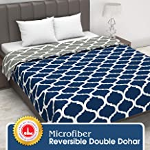 Divine Casa Twilight Abstract 110 GSM Microfibre All Weather Double Dohar - Blue and Drak Grey